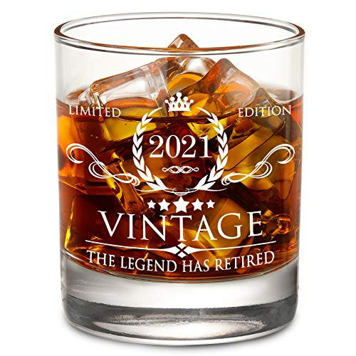 The Legend Has Retired 2021- Limited Edition Retirement Gifts for Men Women – Happy Funny Retirement Gag Gifts Idea for Coworkers, Friends, Him/Her - 11 oz Bourbon Scotch Whiskey Glass