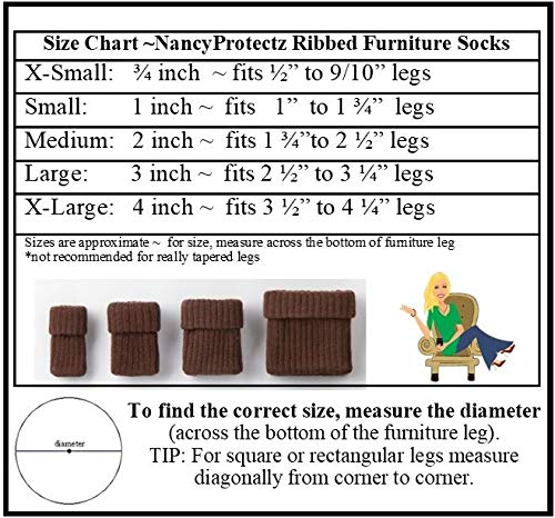 Small/Black with Rubberized Grips-Furniture Leg Floor Protectors