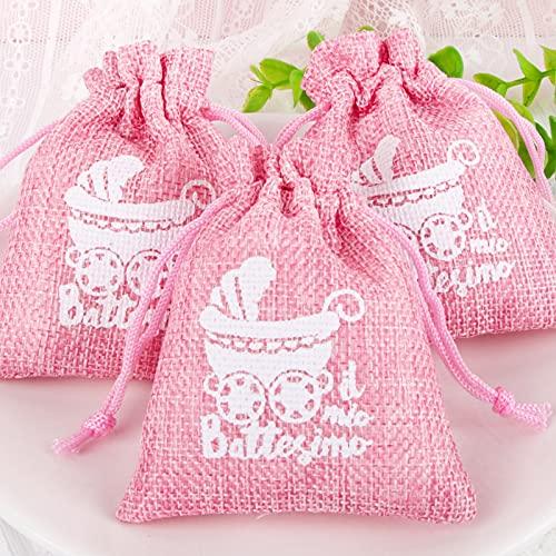 BETESSIN 24Pz Sacchetti Battesimo Rosa Portaconfetti Bomboniere Regalo Addobbi Decorazioni Feste Battesimo Nascita Compleanno Bambina Bimba