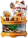 LLDKA Fuente de Agua de la Mesa, Fuente de Paisaje Interior, Adornos de cerámica de Gato Afortunado para el hogar, Oficina, decoración del Dormitorio