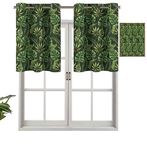 Hiiiman Cenefa de cortina para ventana de privacidad interior, selva bosque, palmeras, juego de 1, 91,4 x 45,7 cm para puerta corredera de patio o comedor