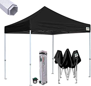 Eurmax Premium 10'x10' Ez Pop-up Canopy Tent Commercial Instant Canopies Shelter with Heavy Duty Wheeled Carry Bag (Black)