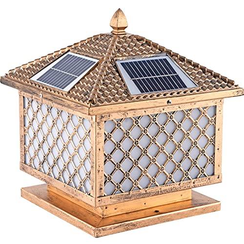 CDPC Faros de Columna solares Impermeables para Puertas de jardín al Aire Libre, lámpara de Pared de Patio antioxidante de fundición de Aluminio y Linterna de iluminación Comercial Antigua con co