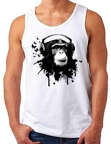 OM3® DJ-APE Tank Top Shirt | Herren | Deejay Monkey Turntables Headphones Music Chimpanzee | Weiß, XL