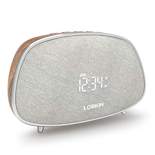 Bluetooth Lautsprecher, Portabler Lautsprecher mit HiFi Stereo Sound, Radio, Digitaler Wecker, Mikrophon, 10W Kabellos Lautsprecher Boxen für Smartphne Samsung PC (Kaffee)