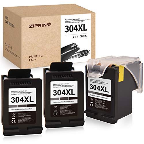 Ziprint Compatible con HP 304XL 304 XL Remanufacturado Cartuchos de Impresora para HP DeskJet 3720 3730 3732 3752 3755 3758 Impresora HP Envy 5020 5030 5032 (1+2 Negra)