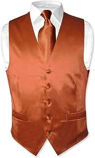 Biagio Men's Silk Dress Vest & Necktie Solid Burnt Orange Color Neck Tie Set