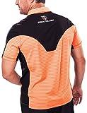 Brickfielder Links Pro Stripes Men`s Golf Polo Shirt (Orange Stripes, Large)