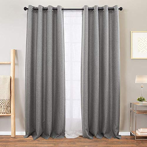 Vangao Grey Linen Textured Curtains for Bedroom 84 inches Long Room Darkening Window Curtain Grommet Light Reducing Drapes Living Room Curtain, 1 Pair Gray