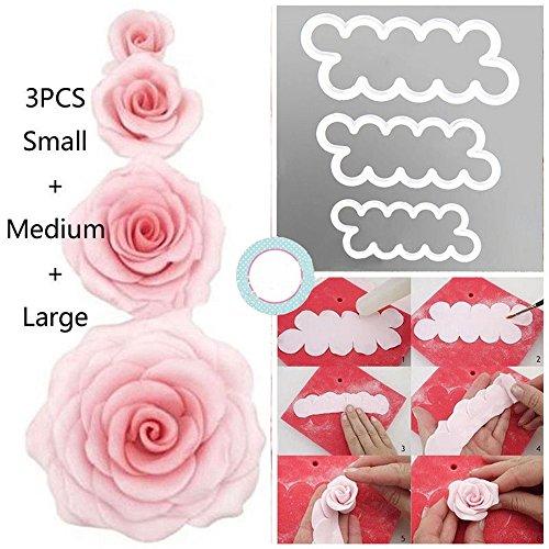 syoo DIY Pasteles Rosas Moldes, 3 tamaños Cake Pétalo Cutter Flores - Juego de moldes, Back accesorios para decorar tartas fondant mazapán