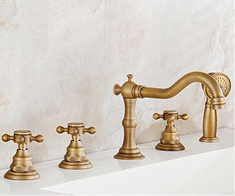 WP All Copper Bathtub Faucet Antique Three-Piece Wujiantao Continental Retro Shower tub Hot and Cold Water Basin Mixer-B