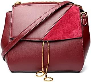 Leather Women's Shoulder Wallet Leather Handbag Leather Retro Versatile Portable Oblique Waterproof (Color : Purple, Size : S)