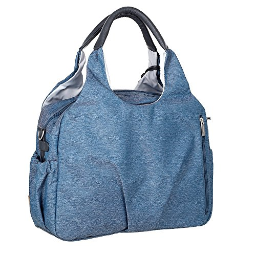 Lässig Sac à langer - Green Label Global Bag Ecoya bleu - Sac à langer Multifonctionnel pour Maman Pratique avec porte biberon isotherme et un matelas à langer imperméable, poche grand et superbe
