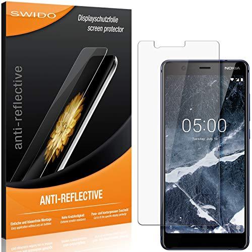 SWIDO Schutzfolie für Nokia 5.1 [2 Stück] Anti-Reflex MATT Entspiegelnd, Hoher Festigkeitgrad, Schutz vor Kratzer/Folie, Bildschirmschutz, Bildschirmschutzfolie, Panzerglas-Folie