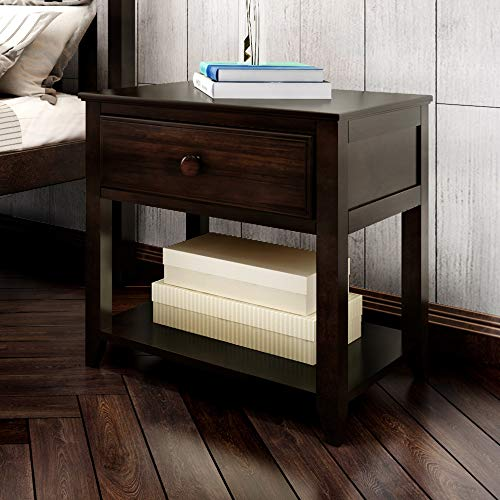 Plank+Beam Nightstand with Drawer and Shelf, 0, Espresso