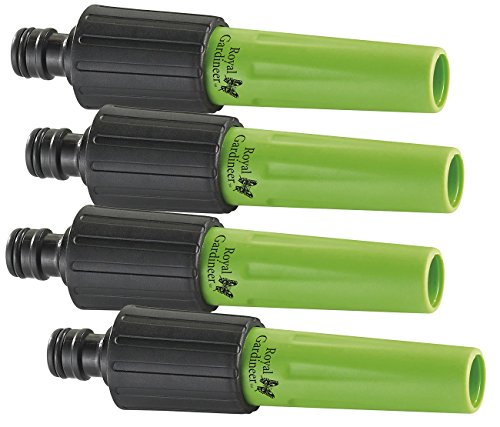 Royal Gardineer Schlauchspritze: 4er-Set Regulier-Spritzdüsen für Gartenschläuche m. Klicksystem (Gartenschlauch Zubehör)