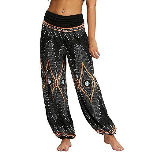 Nuofengkudu Mujeres Hippies Pantalones Largos Cintura Alta Boho Flores Impreso Baggy Indios Yoga Pants Verano Playa Fiesta Harem Pantalón (Negro Pavo,M)
