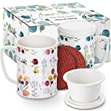 Tea Infuser Mug (Set of 2) 14 oz. Porcelain Tea Cups with Lid and Infuser Ultra-Fine Mesh for Steeping - 2 Heat-Resistant, Non-Slip Drink Coasters (Bloom)