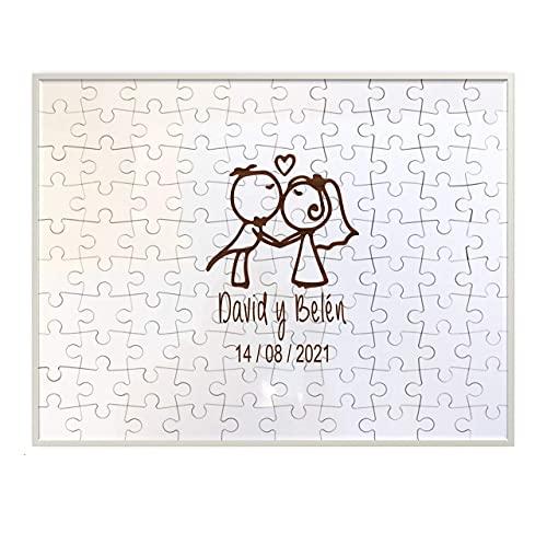 Didart Handmade Libro de visitas Boda. Puzzle 100 piezas madera. Con marco. Personalizado. Modelo NOVIOS. Libro de invitados boda. Sello a juego disponible. Hecho en España