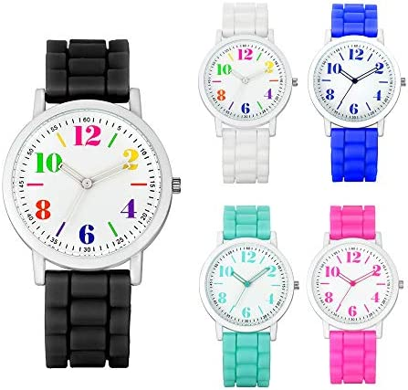 Weicam Women 5 Pack Silicone Motion Round Dial Colorful Face Jelly Number Teen Girls Boys Wrist product image