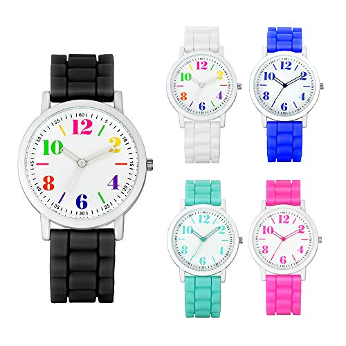 Weicam Women 5 Pack Silicone Motion Round Dial Colorful Face Jelly Number Teen Girls Boys Wrist Watch Wholesale Watch