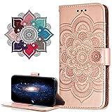 MRSTER Funda para Huawei Y6 Pro 2017, Estampado Mandala Libro de Cuero Billetera Carcasa, PU Leather Flip Folio Case Compatible con Huawei Y6 Pro 2017 / P9 Lite Mini. LD Mandala Rose Gold