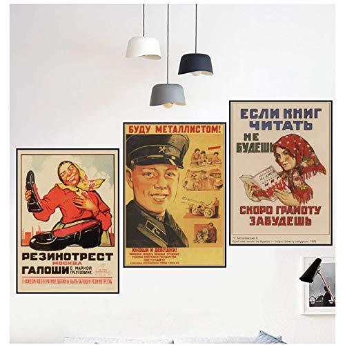 ZNNHERO Propaganda política leninista de la Segunda Guerra Mundial Unión Soviética URSS CCCP póster Retro Pared Decorativo Vintage poster-50x70cmx3 sin Marco
