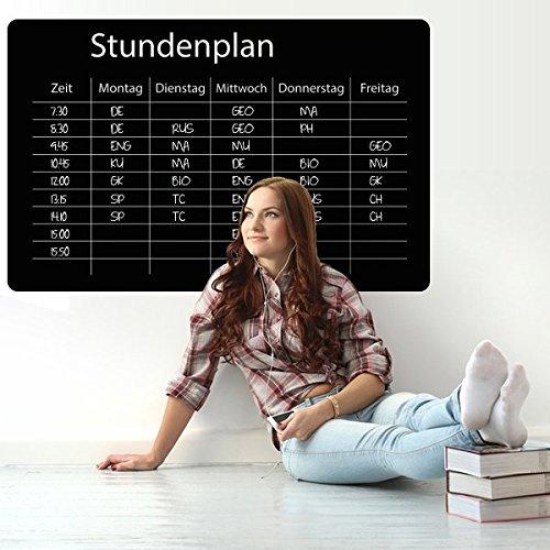 denoda® Tafelfolie - Stundenplan klassisch - Wandtattoo Schwarz 39 x 25 cm (Wandsticker Wanddekoration Wohndeko Wohnzimmer Kinderzimmer Schlafzimmer Wand Aufkleber)