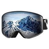 VELAZZIO OTG Ski Goggles, Snowboard Goggles - Double Layer Interchangeable Lens, UV Protection (Black Frame / Grey Lens with Dark Silver Coating (VLT 10%))