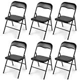 LAZYMOON 6-Pack Plastic Folding Chairs Wedding Banquet Seat Premium Party Event Chair Black