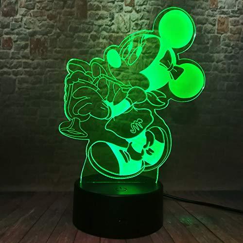 3D LED lief muis nachtlicht illusie lampen 7 kleuren verandering tafellamp decoratieve lamp sfeerlicht decoratie voor kinderen Kerstmis verjaardagscadeau