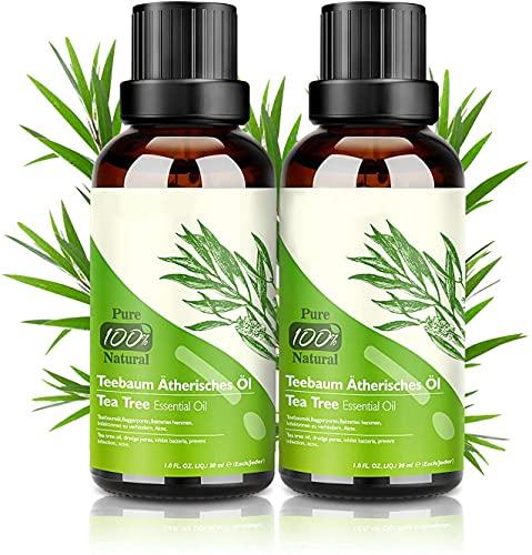 Aceite de Árbol de Té 100% Natural, 2 * 30 ML Aceites Esenciales - Aceite de Acné, Suero de Acné, Tratamiento Antiacné Contra la Piel y Cara con Imperfecciones, Antipinillas, Acné
