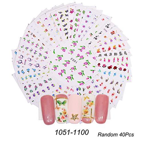 1 Set Design mixte New Nail Art autocollant Set dentelle noire or argent paillettes fleur eau Decal Slider Wraps Décor manucure, 1051-1100 40pcs