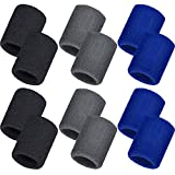 Bememo 12 Pack Sweatbands Sports Wristband Cotton Sweat Band for Men and Women, Good for Tennis, Basketball, Running, Gym, Working Out (Black,Blue,Gray)