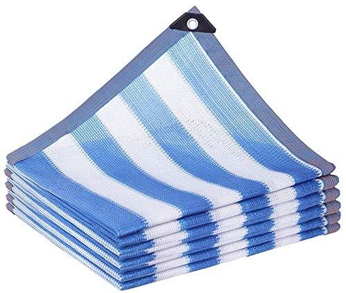 MVNZXL Paño de protección Solar 85% Ojales, para Tumbona de Planta de pérgola de jardín al Aire Libre, Rayas Blancas Azules (tamaño: 4x6m / 13x20ft)