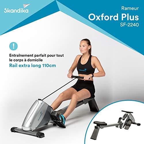 SKANDIKA Regatta Oxford Pro Plus - Rameur d'appartement - Rail de 110cm - Console - Frein magntique - 10 Niveaux de rsistance - Max. 120 kg