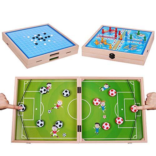 Schnelles Sling Puck Spiel, 3 in 1 Holzfußball Spiel Gobang Flying Chess Multifunktionales Katapult Brettspiel Hockey Table Desktop Game für Kinder Erwachsene