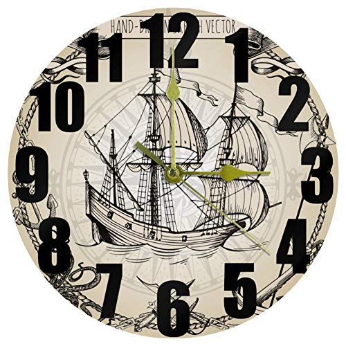 MUMIMI Vintage Pirata Aventura Reloj Silencioso No Ticking Reloj de Pared Redondo Arte del Hogar Dormitorio Sala Oficina Decoración