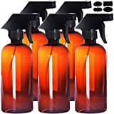 Youngever 5 Pack Empty Amber Plastic Spray Bottles, 16 Ounce Refillable Container
