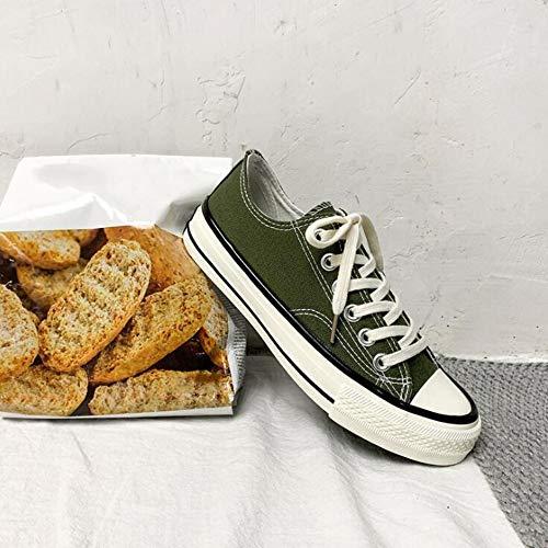XL_nsxiezi Vintage Damen Canvas Schuhe niedrige Schuhe Student, 37, dunkelgrün