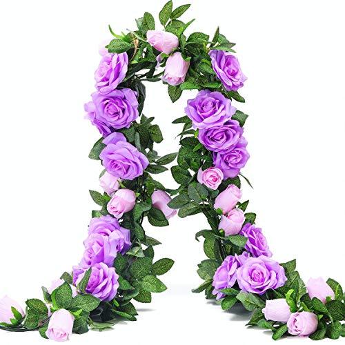 Ksnnrsng Ghirlanda di Rosa Artificiali Fiori di Seta Vite Finta Sospeso Rose Edera Piante per Nozze Casa Ufficio Arco Preparativi Decorazione (2 Pezzi, 9 Fiori -Viola)