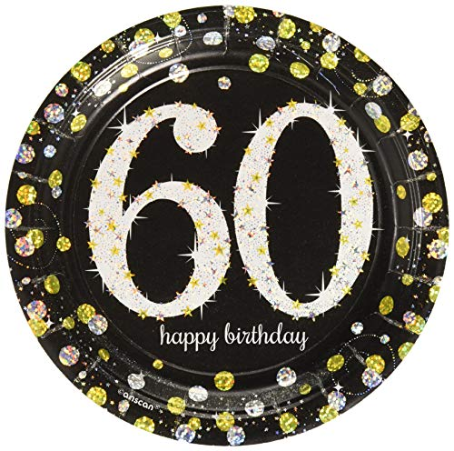 Amscan Sparkling Celebration 60 Round Prismatic Plates, 7, 8 pcs, Birthday