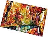Snall River in Autumn Forest Pintura al óleo rectangular manteles individuales de 12 x 18 en anti escaldamiento día festivo manteles individuales patrón naturaleza mesa Mat Set de 6 para fiesta