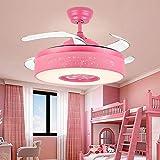 Ventilador de techo con luces Sala de techo invisible de los niños de la lámpara del ventilador silencioso de la lámpara principal del ventilador del ventilador interior Araña Comedor Habitación Sala