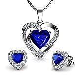 DEPHINI - Juego de collar y pendientes de corazón azul - Plata de ley 925 - Pendientes de cristal y piedra natal - Juego de joyería fina para mujer - circonita cúbica