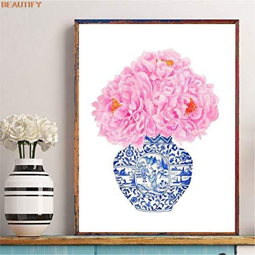 Blauw en wit porselein vaas art muur poster op canvas Chinese stijl roze pioen afbeelding trend nu kunstenaar woondecoratie frameloze schilderij 20X30 CM