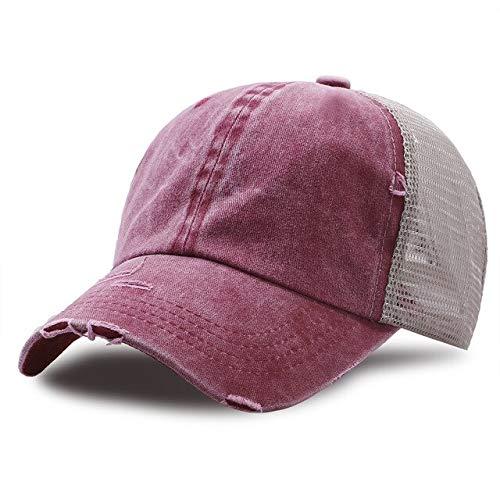 Gorras de béisbol Verano de Malla Transpirable Gorra de béisbol Algodón Protector Solar Sombrero Snapback Sombreros de Montar Unisex al Aire Libre-Wine Red