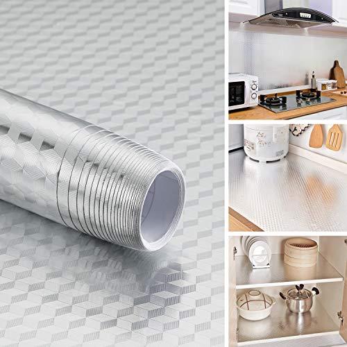 iKINLO 61X500cm Küchenfolie Selbstklebende Aluminium Folie Aufkleber Wasserdicht Klebefolie Öl Resistent Gegenaufkleber Tapete Hitzebestandige DIY Möbel Küche Dekorfolie