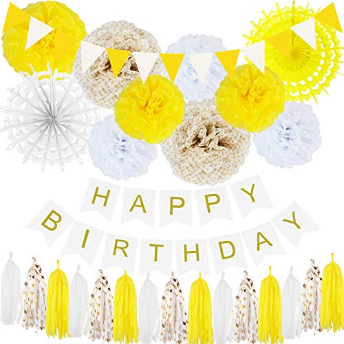 ELOPELY Yellow Party Decorations Set, Yellow Tissue Pom Poms Birthday Party Supplies Birthday Decor, Tassel Banner Garland Decorations (Yellow, White)