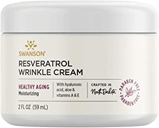 Swanson Resveratrol Wrinkle Cream with Hyaluronic Acid 2 fl Ounce (59 ml) Cream
